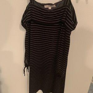Black and white stripe cotton dress